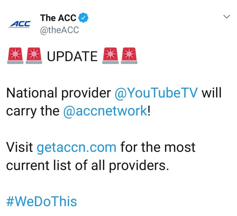 acc network on youtube tv